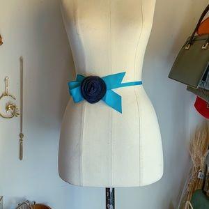 Vintage J.crew Silk Flower Ribbon Bow Teal Belt